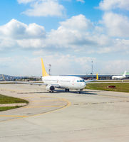 Airplane at runway, Istanbul airport