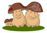 Family of Cartoon Mushrooms