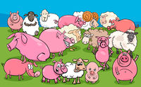 pigs and sheep farm animal characters group