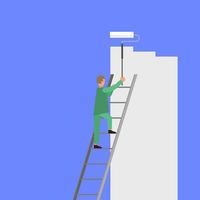 Painter with Roller Painting Wall. Worker on Ladder Paints Home. Renovation and Repair Service Concept.