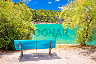 Turquoise beach in Omisalj view