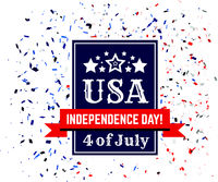Badge of congratulations on US Independence Day. Fourth of July on the background of confetti in the colors of the American flag. Vector