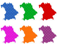 Karten von Bayern mit farbigen Rauten  - Maps of Bavaria with colored rhombs
