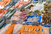 Fresh fish and seafood for sale at a market in Brixton, London