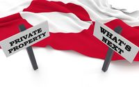 Greenland flag and signs with retorical questions.