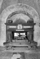 old grape press in the eberbach monastery near eltville germany in black and white