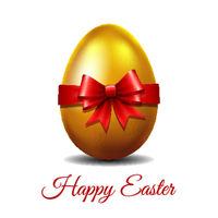 Gold Easter egg tied of red ribbon