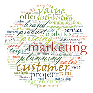 wordcloud illustration of marketing and business words