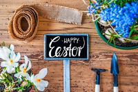 Spring Flowers, Sign, Calligraphy Happy Easter, Wooden Background