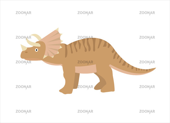Triceratops icon flat style. Isolated on white background. Vector illustration