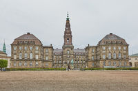 Wide angle view of the main building and the Platz in front of Christiansborg Slot Copenhagen, Denma