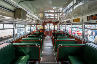 Interior first deck of the double-decker bus Buessing D2U 64, 1965.