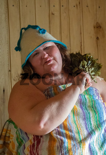 Russian woman in bathhouse