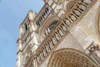 Paris, France, March 27 2017: Detail of the Notre Dame Cathedral in Paris. Statues on the facade of Notre Dame Cathedral