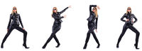 Dancing woman in black leather costume