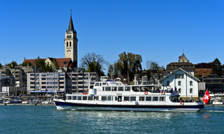 Ausflugsschiff Säntis im Hafen Romanshorn, Romanshorn, Schweiz