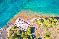 Dugi Otok island historic villa Rustica ruins aerial view