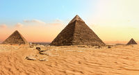 Famous Giza Pyramids in the sand desert, Egypt