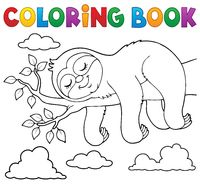 Coloring book sleeping sloth theme 1