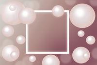 Pink Pearls around rectangular white frame on gradient background