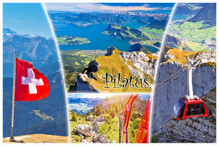 Pilatus mountain peak and Lucerne lake postcard collage view with label