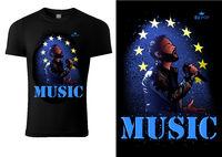 T-shirt Design Euro Pop Music with Singer