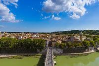 Bridge to Castle de Sant Angelo in Rome Italy