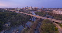 Evening Light Over Highways Heading Downtown City Skyline Riverfront Park Richmond Virginia