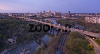 Evening Light Over Highways Heading Downtown City Skyline Riverfront Park Richmond Virginia
