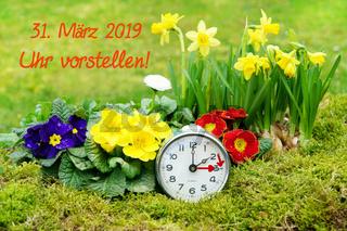 Zeitumstellung, Sommerzeit, Uhr, 31. März 2019, Frühlingsblumen, Schrift, Uhr vorstellen, Textraum