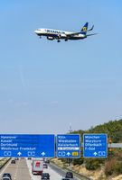 Airplane of Ryanair in landing approach