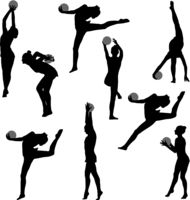 Set silhouette girl gymnast with the ball on white background