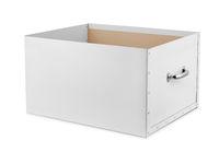 Open storage box isolated