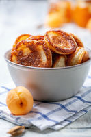 Sourdough pancakes in a ceramic bowl.