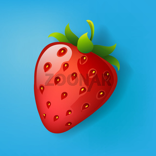 Strawberry vector isolated on blue background, vector illustration.