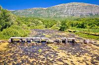 Cetina river near source old stone bridge view