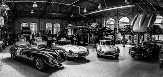 Panoramic view of the workshop for the repair and maintenance of English classic retro cars.