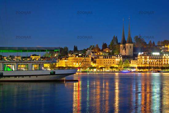 Lucerne lake waterfront and historic architecture evening view