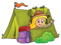 Scout girl in tent theme 1