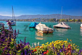 Coloruful Zurich lake and Swiss landscape view