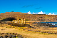 View of ancient Moai of Ahu Tongariki and The South Pacific Ocean on Easter Island