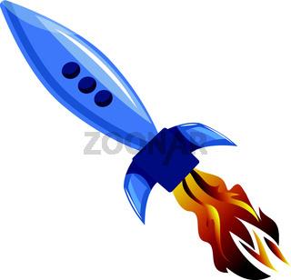 Flying blue rocket vector illustration on white background.