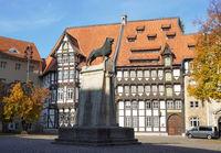 Brunswick Lion monument located on Burgplatz square in Braunschweig Germany