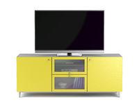 Tv on yellow tv cabinet