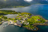 Beautiful Nature Norway Aerial view of the campsite to relax.