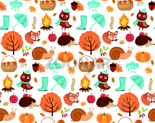 Autumn seamless pattern with leaves, trees, mushrooms, pumpkin, wild animals, umbrella and boots. Endless background, repeating texture. Vector illustration