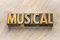 musical word abstract in wood type
