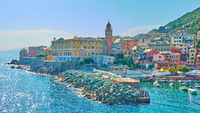 Panoramic view of waterfront in Genoa Nervi