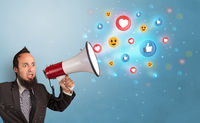 Person speaking in loudspeaker with social media concept