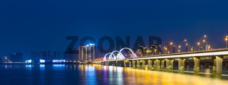 jiujiang night view of lake and bridge